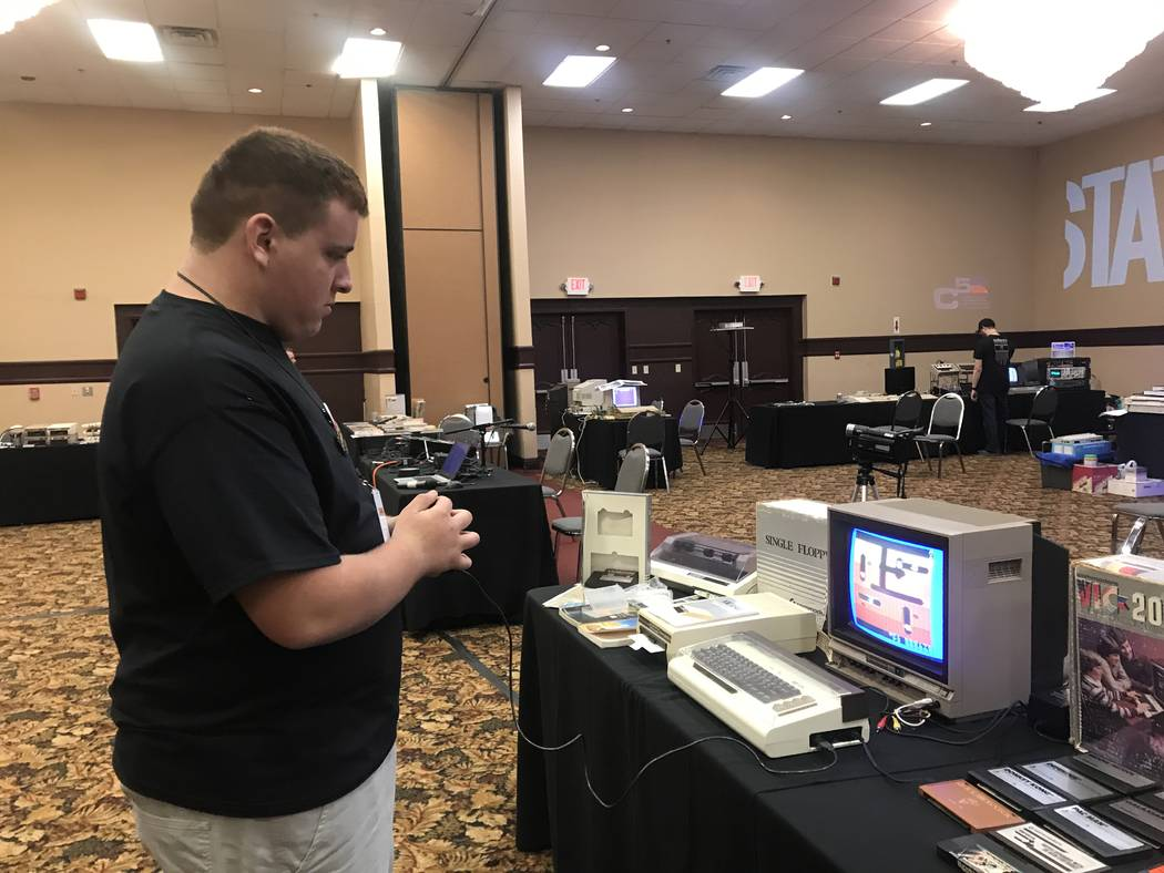 Vincent Mazzei, 15, plays computer game on his Commodore VIC-20 on July 29, 2017 at the Commodore Retro Expo at Alexis Park Resort, 375 E. Harmon Ave. (Kailyn Brown/ View) @KailynHype