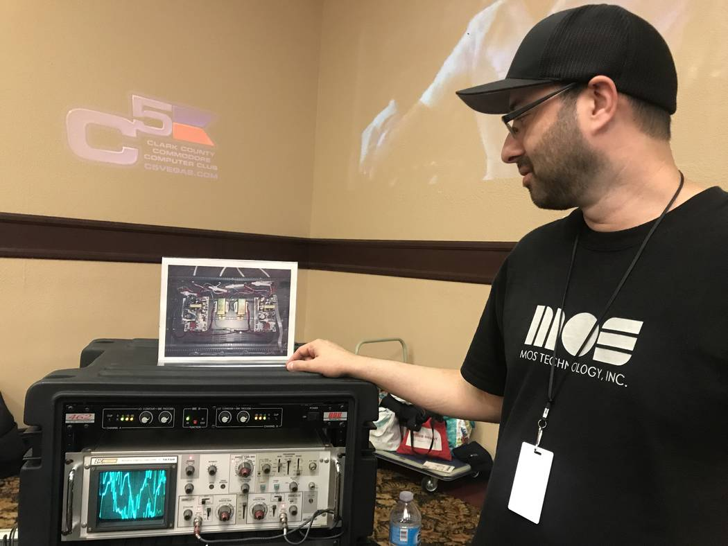 Saj Awan shows off display of his Commodore collection on July 29, 2017 at the Commodore Retro Expo at Alexis Park Resort, 375 E. Harmon Ave. (Kailyn Brown/ View) @KailynHype