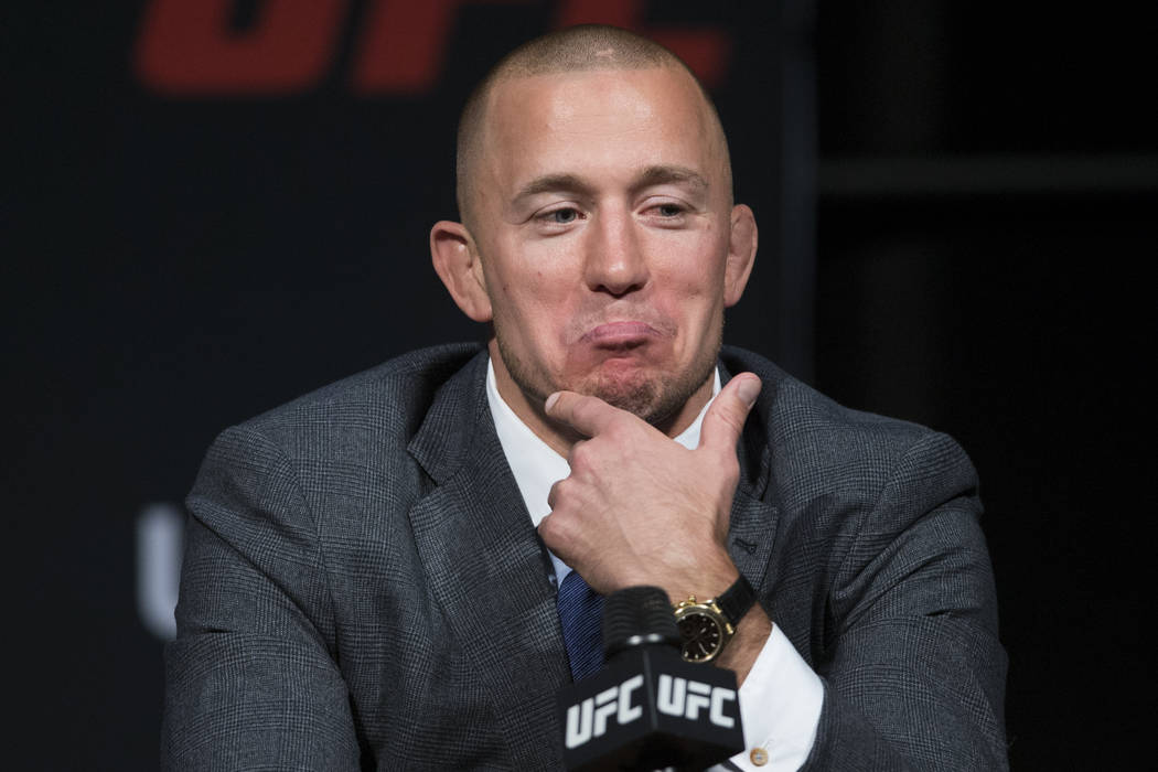 George St-Pierre during an UFC press conference with his future fighting opponent Michael Bisping, no pictured, at T-Mobile Arena on Friday, March 3, 2017, in Las Vegas. (Erik Verduzco/Las Vegas R ...