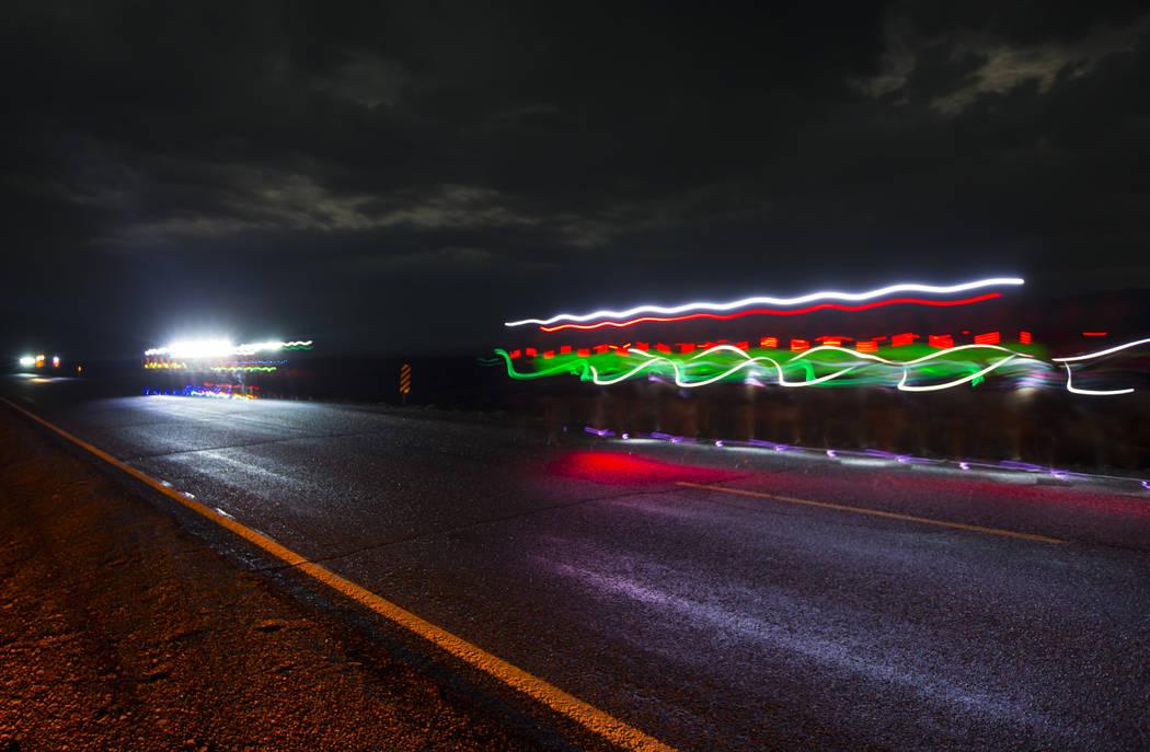People participate in the Extra Terrestrial Full Moon Midnight half marathon near Rachel on Saturday, Aug. 5, 2017. (Chase Stevens/Las Vegas Review-Journal) @csstevensphoto