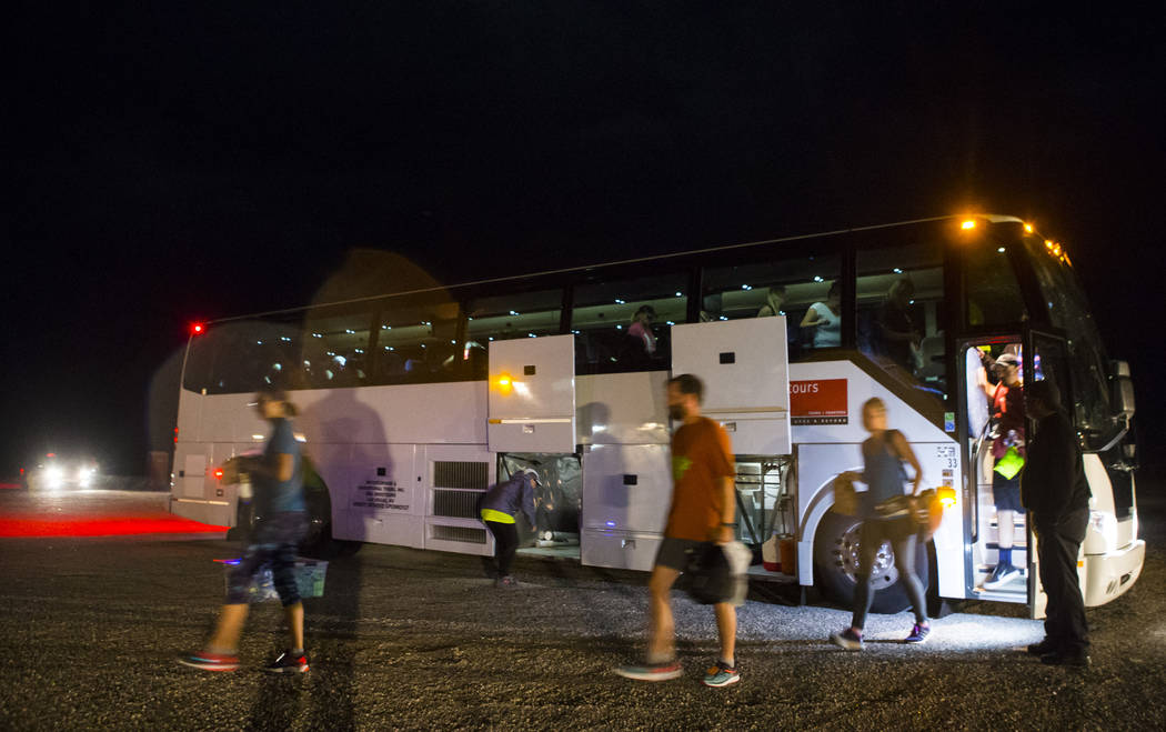 Participants arrive for the Extraterrestrial Full Moon Midnight Marathon in Rachel on Saturday, Aug. 5, 2017. The event featured five distances ranging from 5k to 51k. Chase Stevens Las Vegas Revi ...