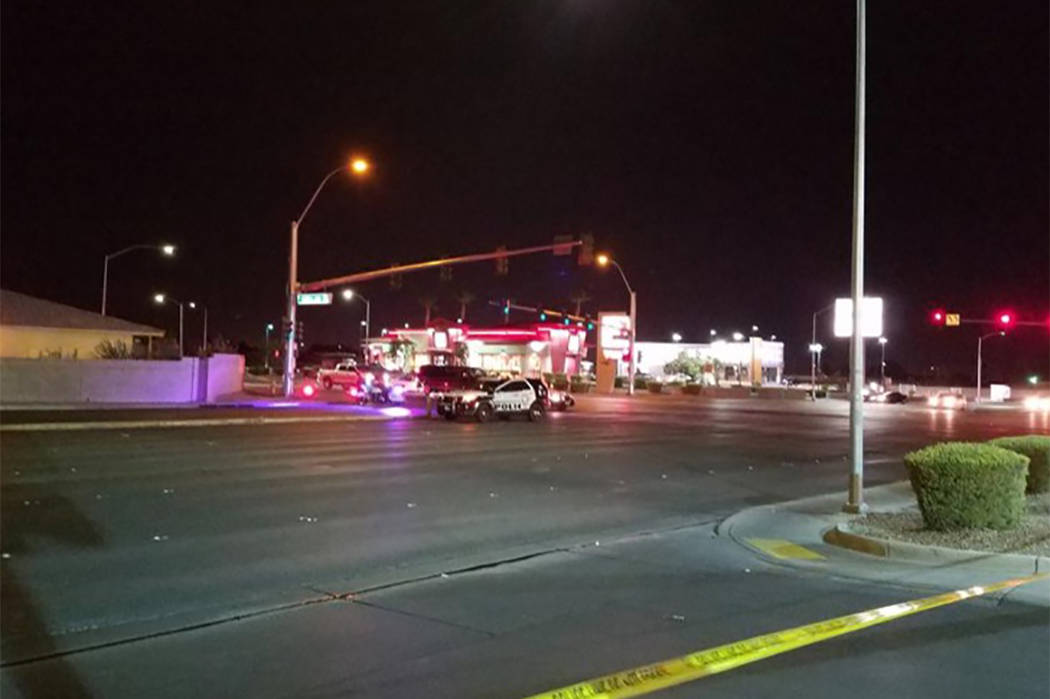 Las Vegas police are investigating a deadly crash Wednesday night near the intersection of Lake Mead and Martin Luther King boulevards. (Mike Shoro/Las Vegas Review-Journal)
