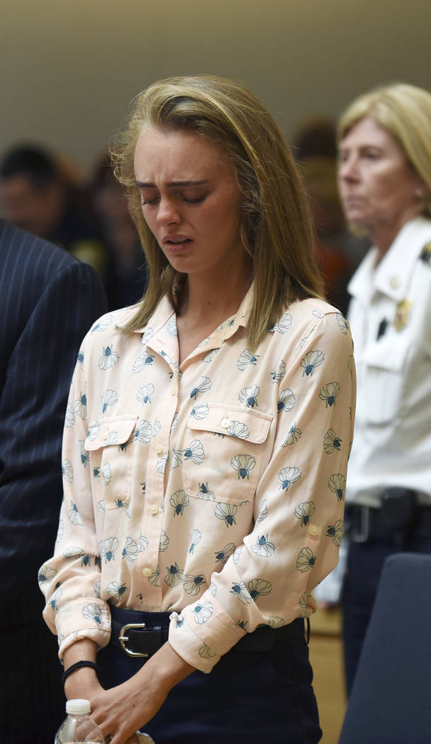 Michelle Carter cries after being found guilty of involuntary manslaughter in the suicide of Conrad Roy III, Friday, June 16, 2017, in Bristol Juvenile Court in Taunton, Mass. (Glenn C.Silva/Fairh ...