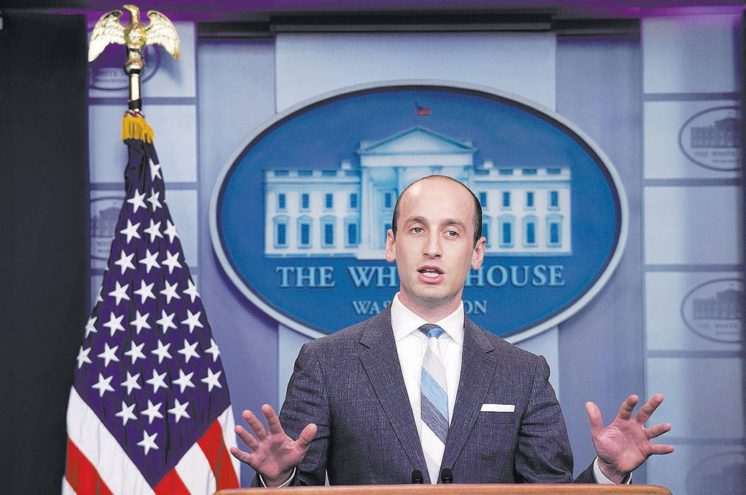 White House senior policy adviser Stephen Miller speaks during the daily briefing at the White House in Washington, Wednesday, Aug. 2, 2017. (AP Photo/Susan Walsh)