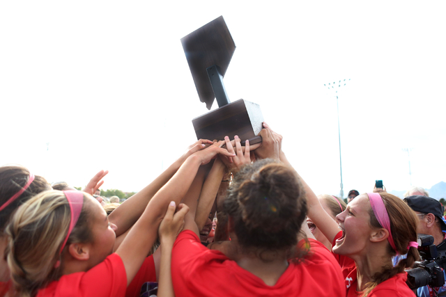 Arbor View celebrate holding their trophy after their victory against Palo Verde at the Bettye Wilson Soccer Complex during the Class 4A girls state soccer championship, Saturday, Nov. 12, 2016, i ...