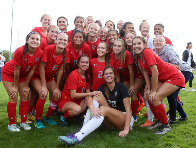 Arbor View pose for a photograph after their victory against Palo Verde at the Bettye Wilson Soccer Complex during the Class 4A girls state soccer championship, Saturday, Nov. 12, 2016, in Las Veg ...