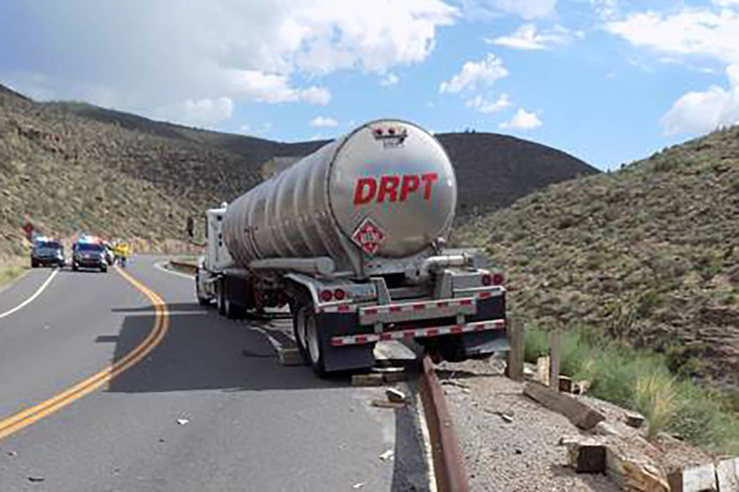 Semi-tractor truck involved in the accident on Diamond Bar Road.  (Mohave County Sheriff's Office)