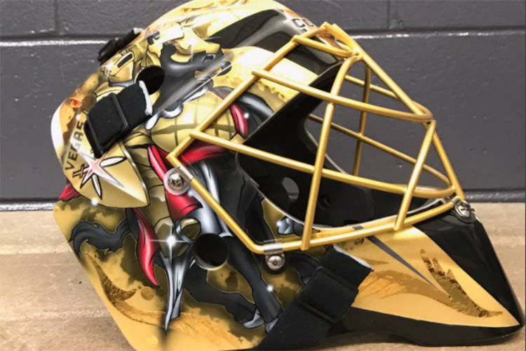 Golden Knights goaltender Marc-Andre Fleury's mask for the team's inaugural NHL season. The Knights unveiled the mask on Twitter on Thursday, Aug. 3, 2017. (Twitter/@GoldenKnights)