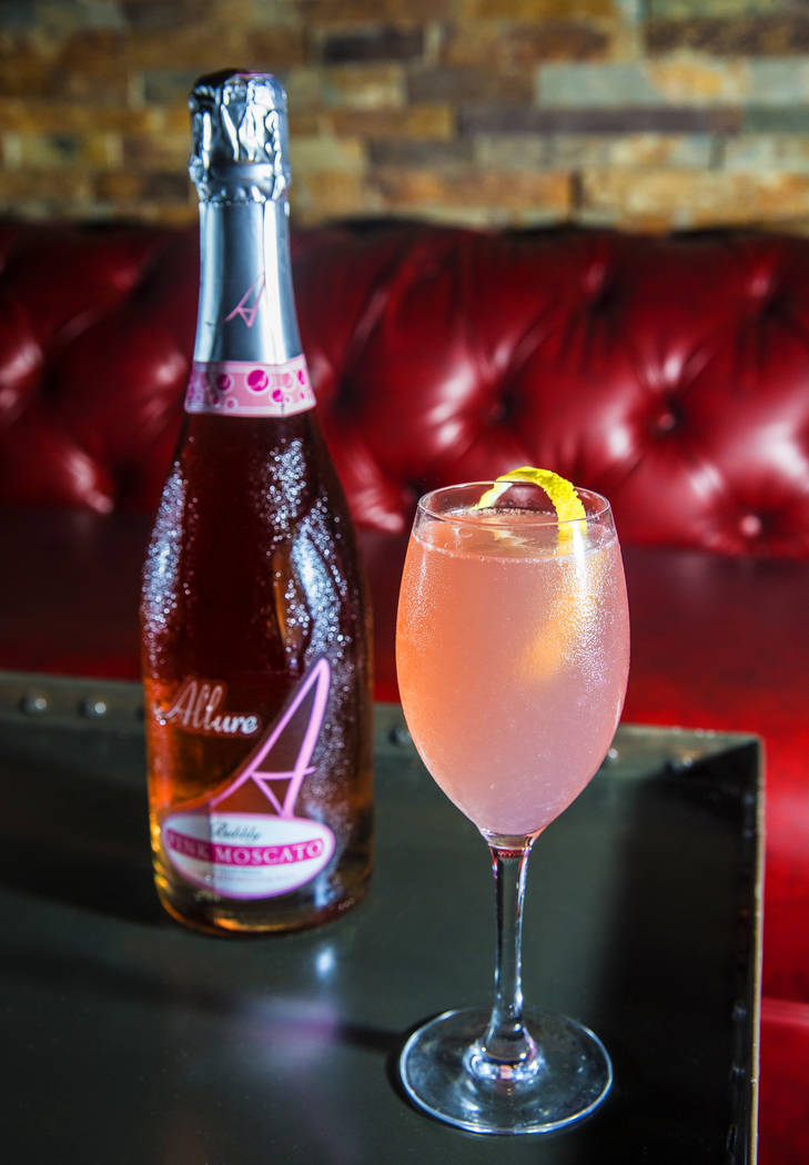 Touch the Sky, with Skyy Infusions Apricot, fresh lemon Fee Brothers Orgeat and Allure Sparkling Rose on Thursday, Aug 3, 2017, at The Lounge at Excalibur hotel-casino, in Las Vegas. Benjamin Hage ...