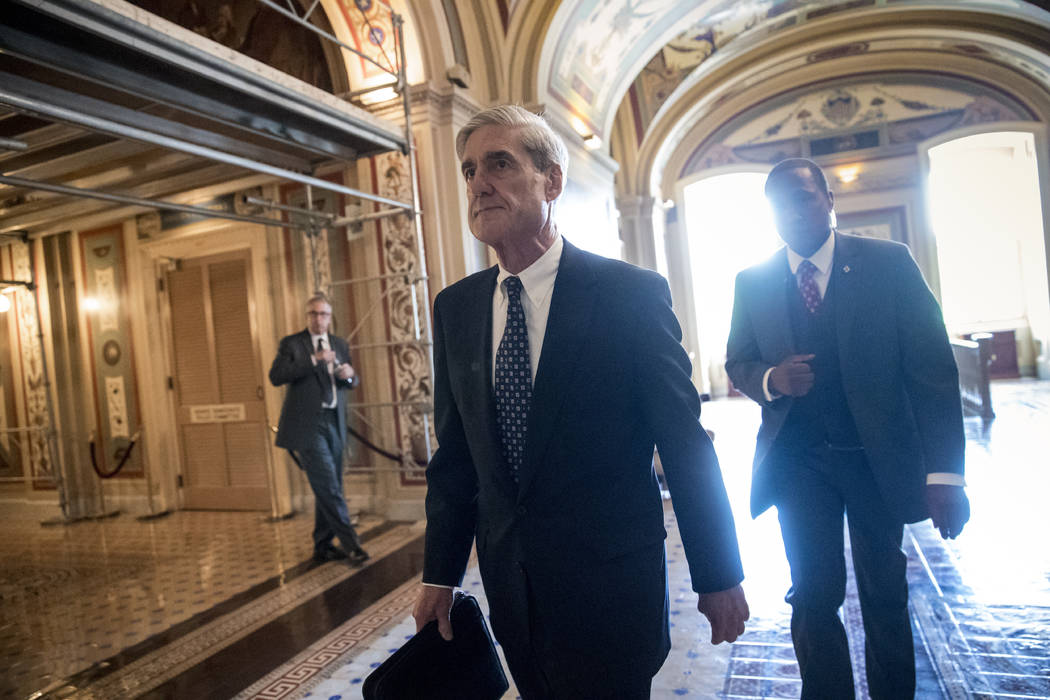 Special Counsel Robert Mueller departs after a closed-door meeting with members of the Senate Judiciary Committee about Russian meddling in the election at the Capitol in Washington, June 21, 2017 ...