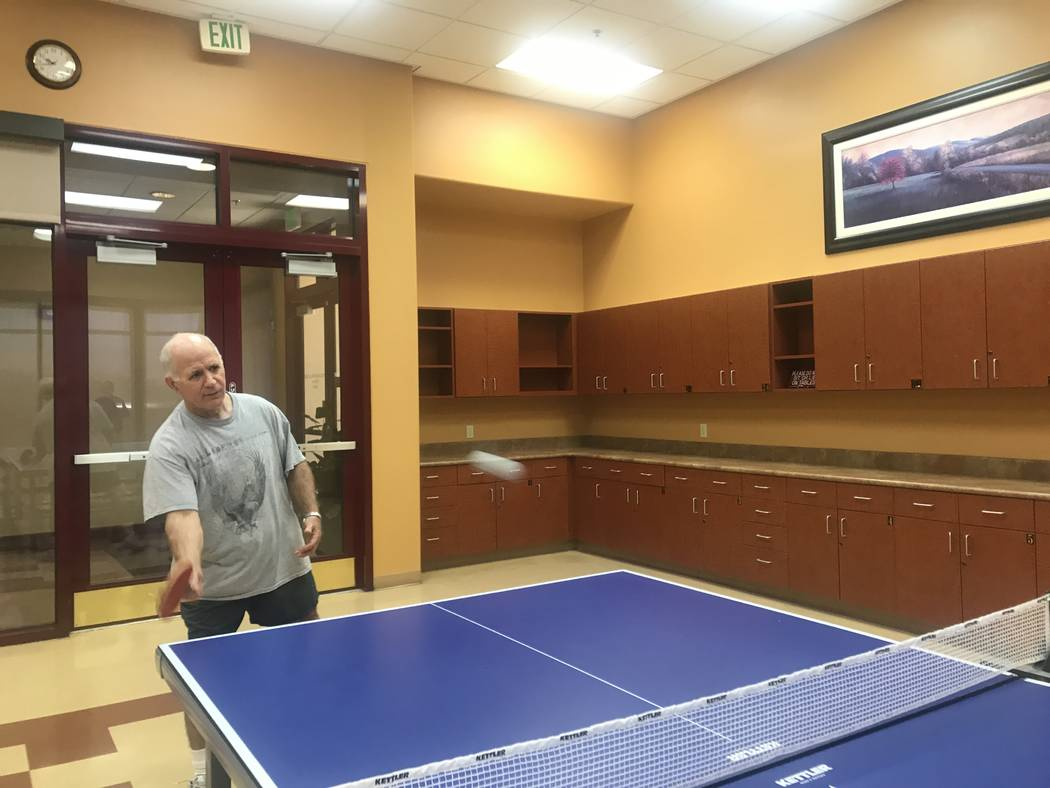 Sun City Aliante ping pong club organizer Mike Long playing a single game with another member on July 2, 2017 at the community center, 7390 N. Aliante Parkway. (Kailyn Brown/ View) @KailynHype