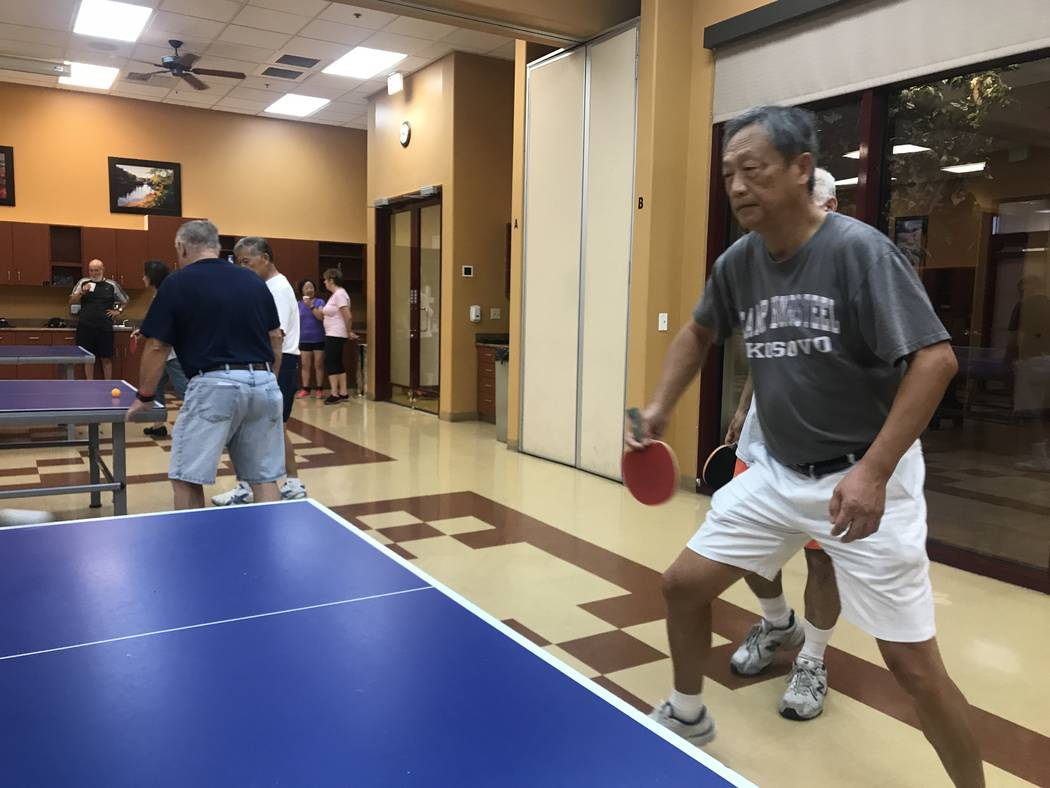 Doug Wen, 67, plays ping pong on July 3, 2017 at Sun City Aliante community center, 7390 N. Aliante Parkway. (Kailyn Brown/ View) @KailynHype