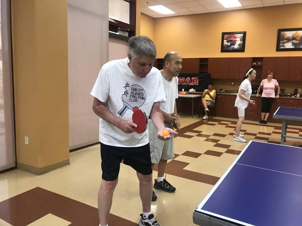 Wayne Headrick, 72, serves a ping pong ball on on July 3, 2017 at Sun City Aliante community center, 7390 N. Aliante Parkway. (Kailyn Brown/ View) @KailynHype