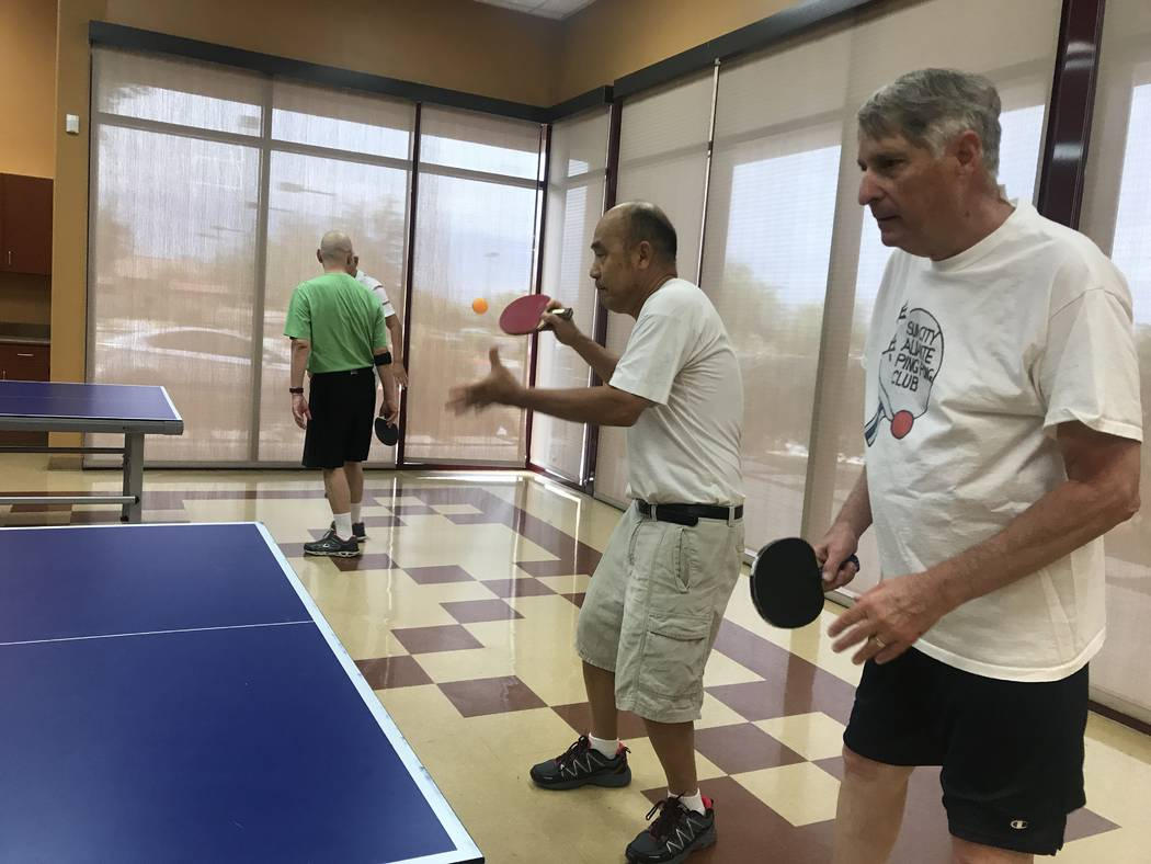 Members play ping pong ball on July 3, 2017 at Sun City Aliante community center, 7390 N. Aliante Parkway. (Kailyn Brown/ View) @KailynHype