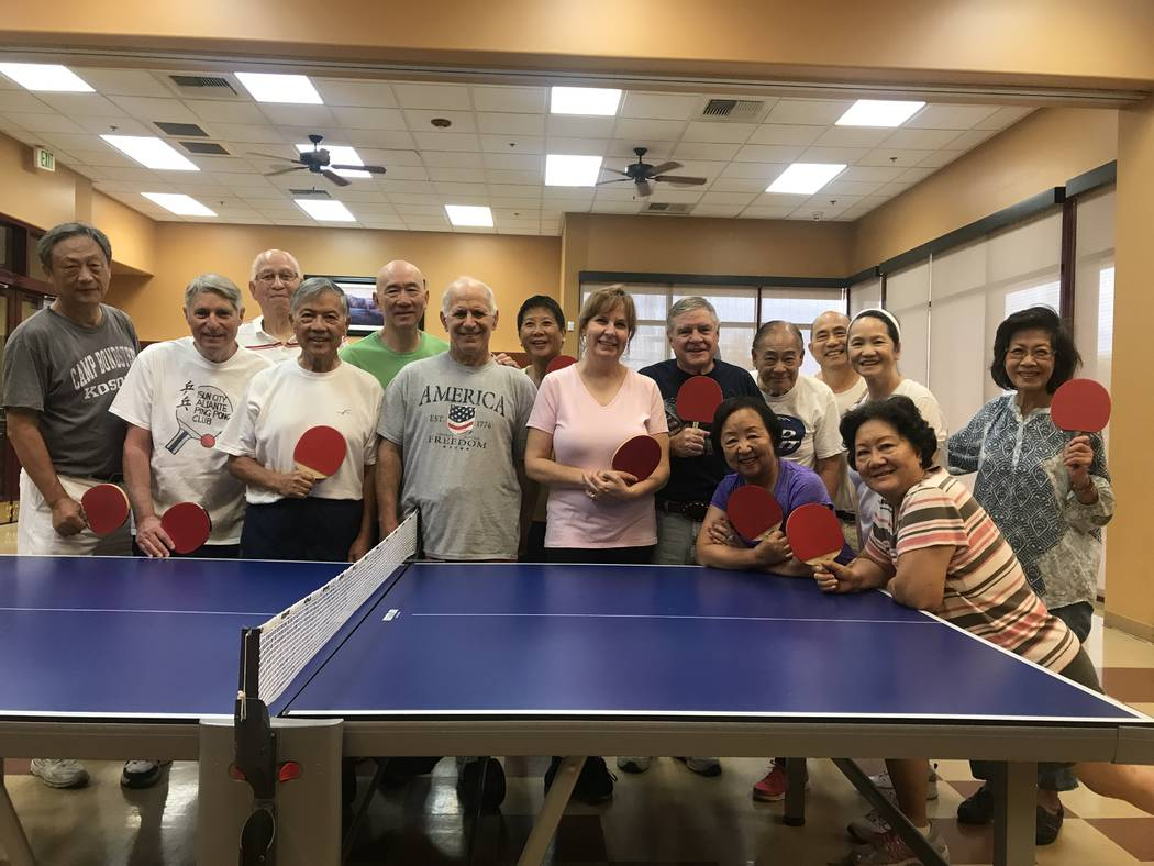 The Sun City Aliante ping pong members pose for photo on July 3, 2017 at the community center, 7390 N. Aliante Parkway. (Kailyn Brown/ View) @KailynHype