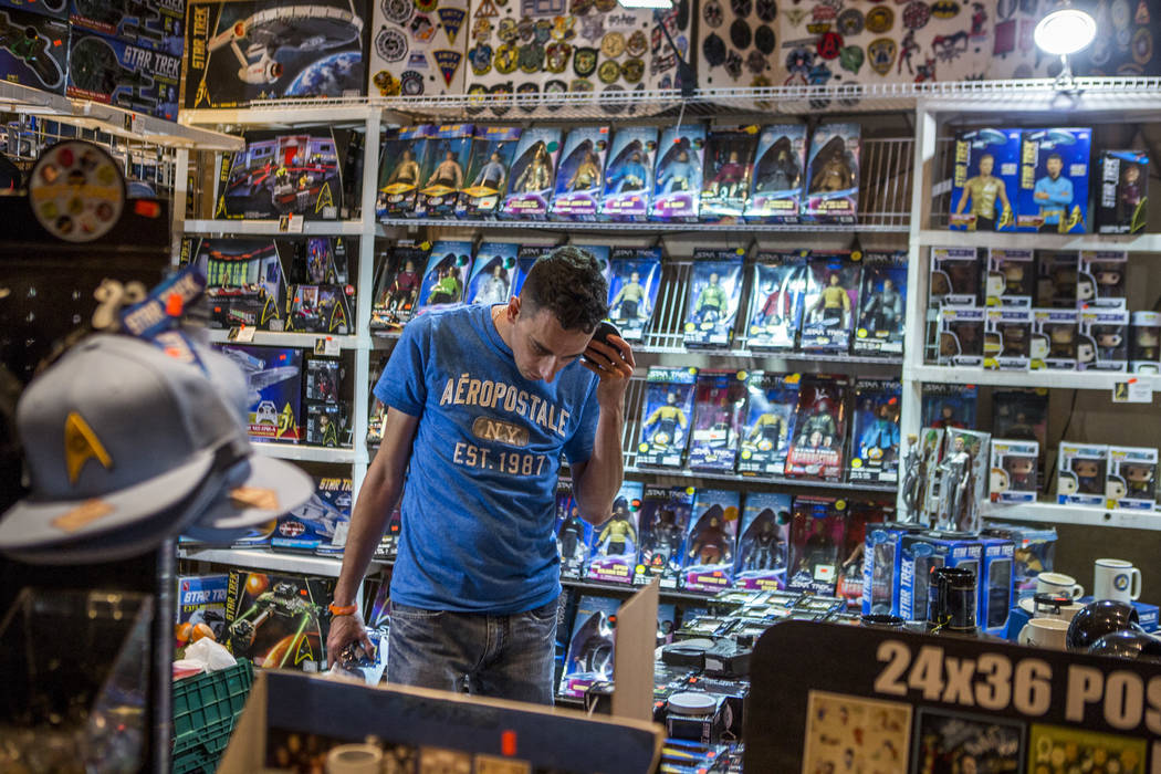 Mike Brickley of Virginia Beach, Va., browses merchandise during the Official Star Trek Convention at the Rio Convention Center on Thursday, Aug. 3, 2017.  Patrick Connolly Las Vegas Review-Journa ...