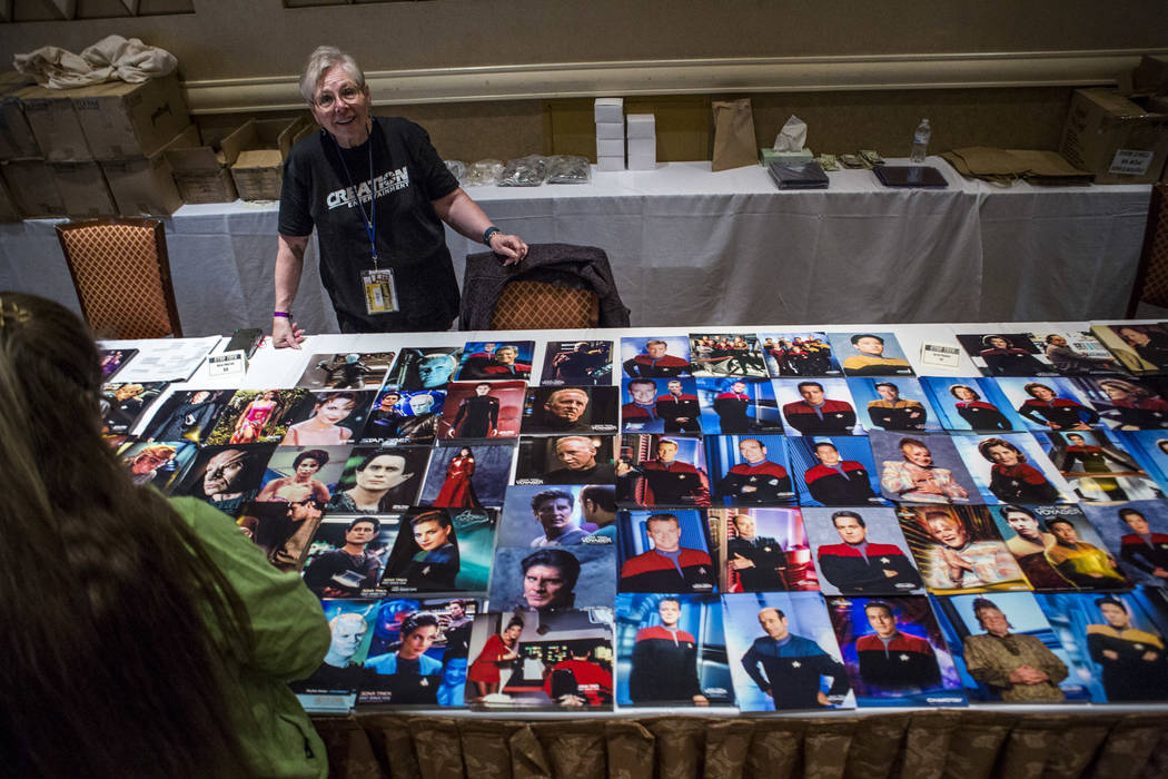 July Elder watches over Star Trek photos as fans browse during the Official Star Trek Convention at the Rio Convention Center on Thursday, Aug. 3, 2017.  Patrick Connolly Las Vegas Review-Journal  ...