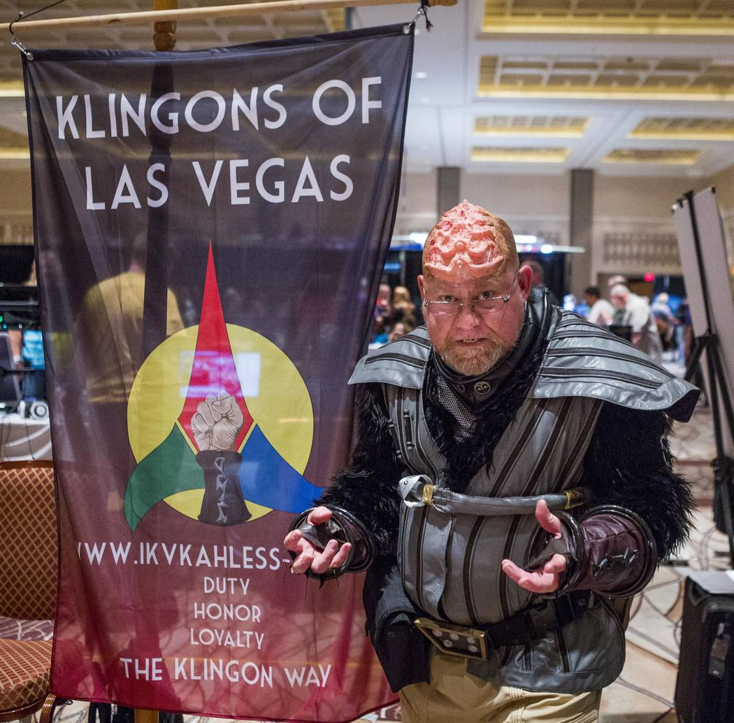 David Orton dressed as a Klingon at the Klingons of Las Vegas booth during the Official Star Trek Convention at the Rio Convention Center on Thursday, Aug. 3, 2017.  Patrick Connolly Las Vegas Rev ...