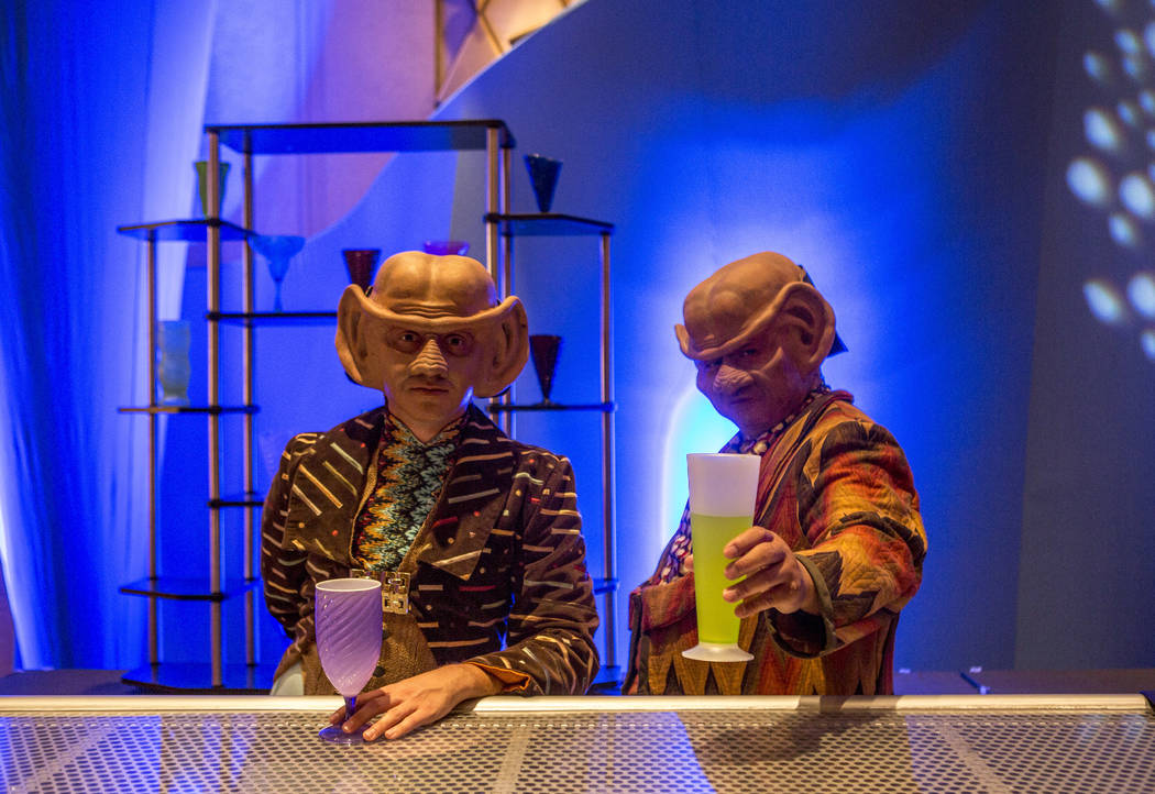 Alex Kyle, left, and Eric Cajuat, dressed as Ferengi, during the Official Star Trek Convention at the Rio Convention Center on Thursday, Aug. 3, 2017.  Patrick Connolly Las Vegas Review-Journal @P ...