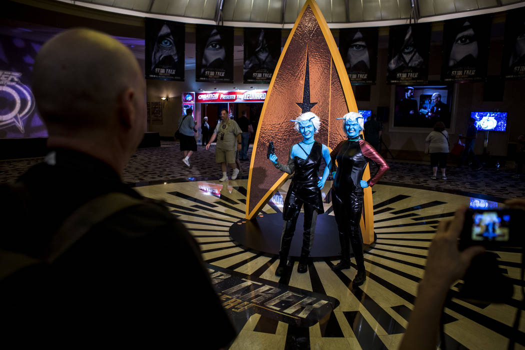 Alex Petrucci, left, and Candace Weigand dressed as Andorians have their photo taken during the Official Star Trek Convention at the Rio Convention Center on Thursday, Aug. 3, 2017.  Patrick Conno ...