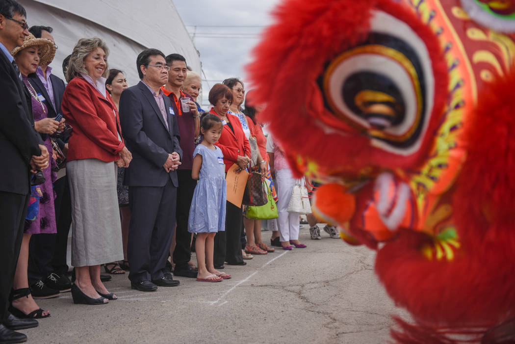 Congresswoman Dina Titus watches a traditional Chinese dance at the Shangai Plaza groundbreaking ceremony on Friday, August 4, 2017, in Chinatown in Las Vegas. Morgan Lieberman Las Vegas Review-Jo ...