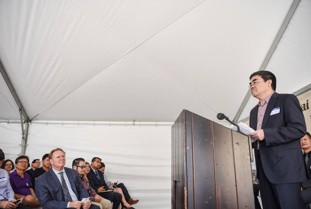 Honorary President Wai Tak Ng speaks to the crowd at the Shangai Plaza groundbreaking ceremony on Friday, August 4, 2017, in Chinatown in Las Vegas. Morgan Lieberman Las Vegas Review-Journal