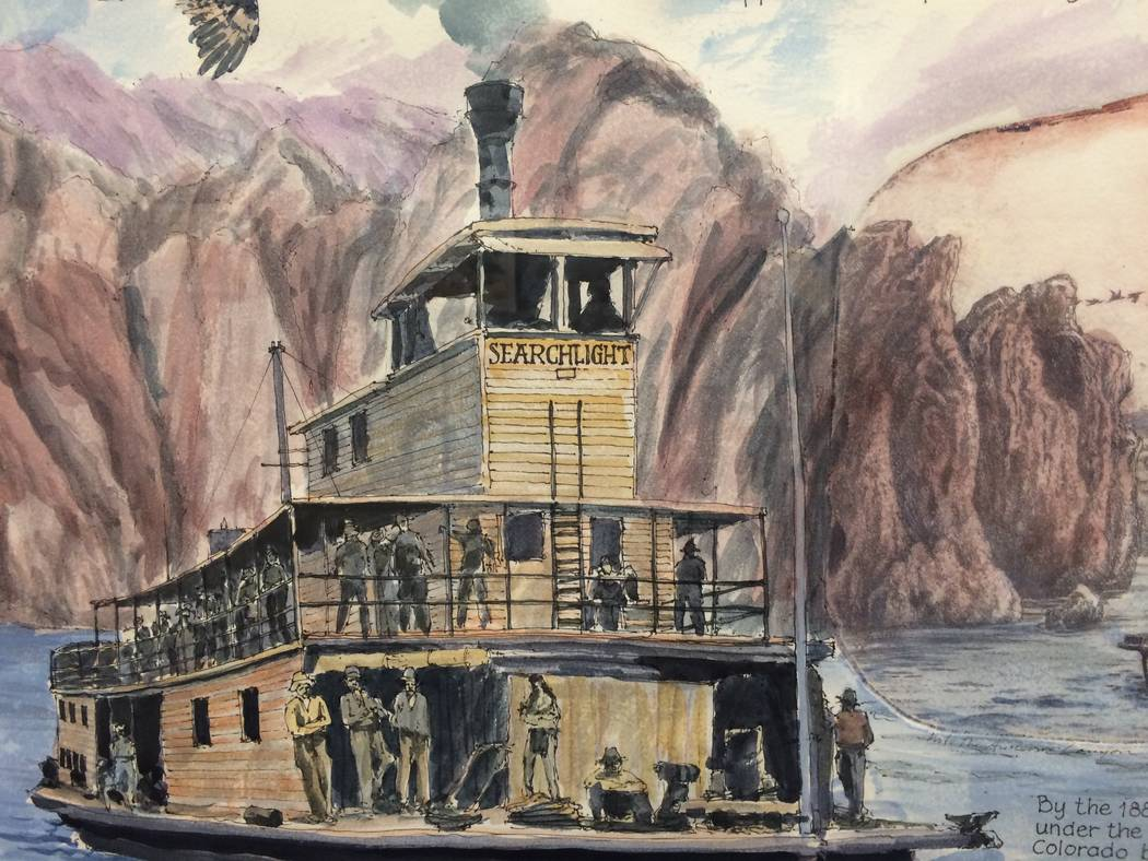 "Detail of a mixed-media work devoted to ""The Colorado Steamboat Era"" of the 1850s to 1905, part of artist Roy Purcell's ""Vegas Valley Memories"" at the Springs Preserve. Carol Cling"
