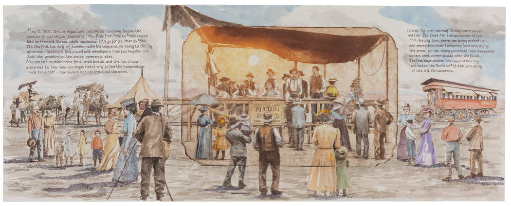 "Artist Roy Purcell re-creates the 1905 land auction that launched downtown Las Vegas in one of the 13 mixed-media works that make up the ""Vegas Valley Memories"" exhibit at the Springs Preserve ..."