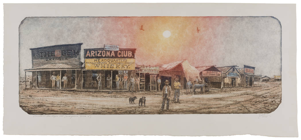 "Las Vegas' infamous ""Block 16"" red-light district inspires Roy Purcell's mixed-media artwork, on display at the Springs Preserve's Big Springs Gallery through Oct. 8. Springs Preserve"