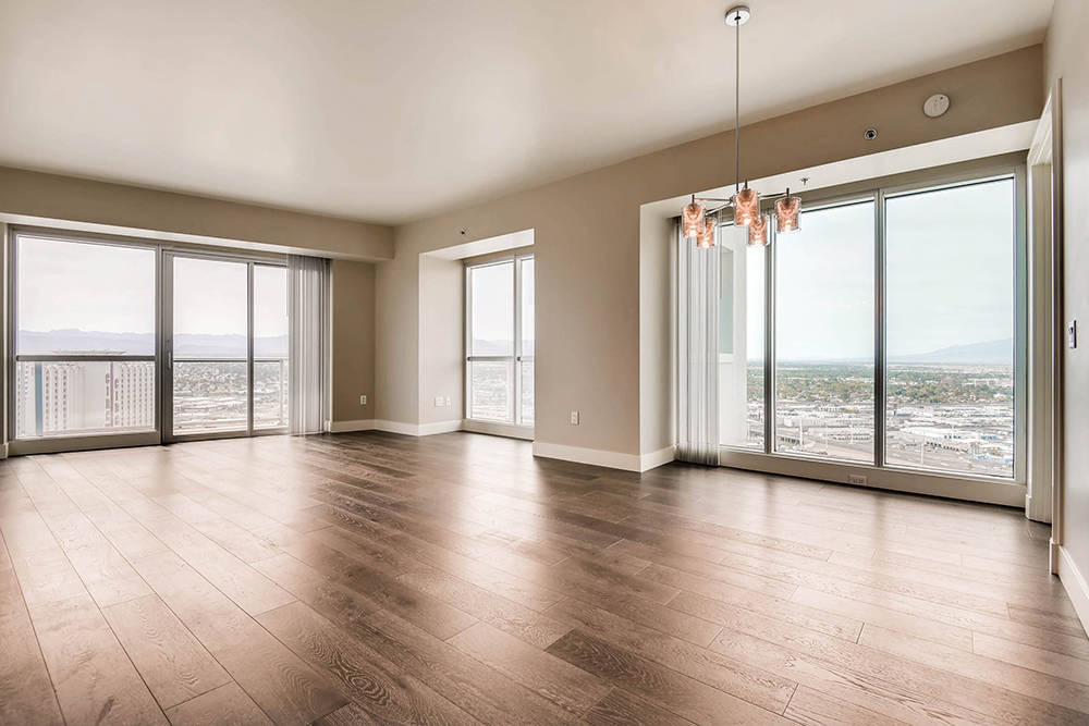 Sky Las Vegas units have views of the Strip and the desert mountains. (Char Luxury Real Estate)