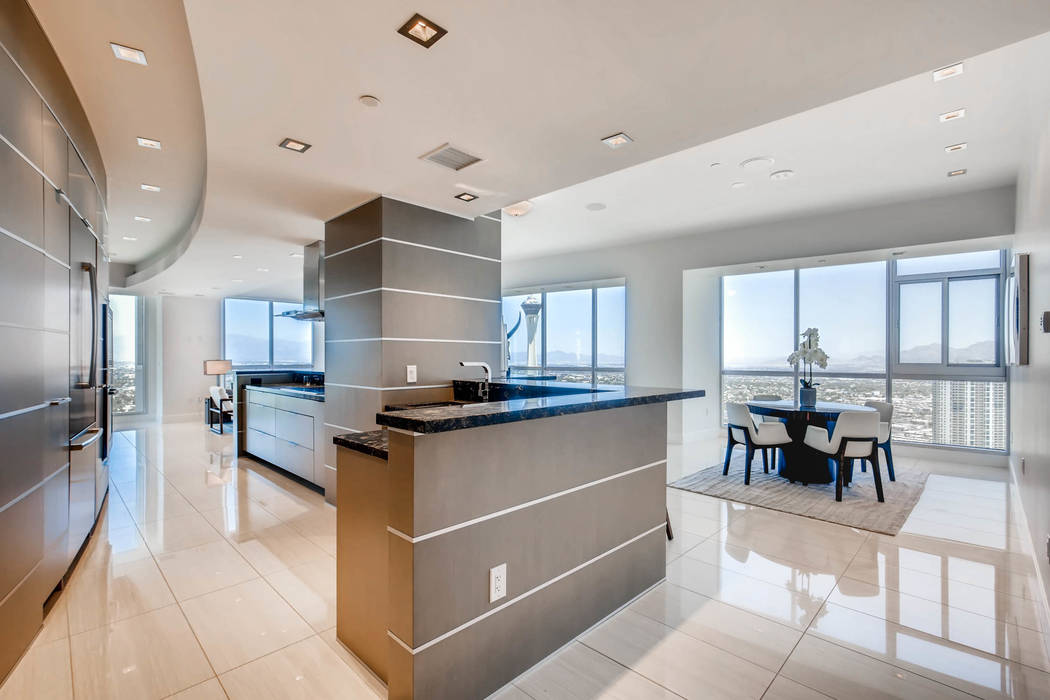 A Sky Las Vegas unit that is on the market features a modern design. (Char Luxury Real Estate)