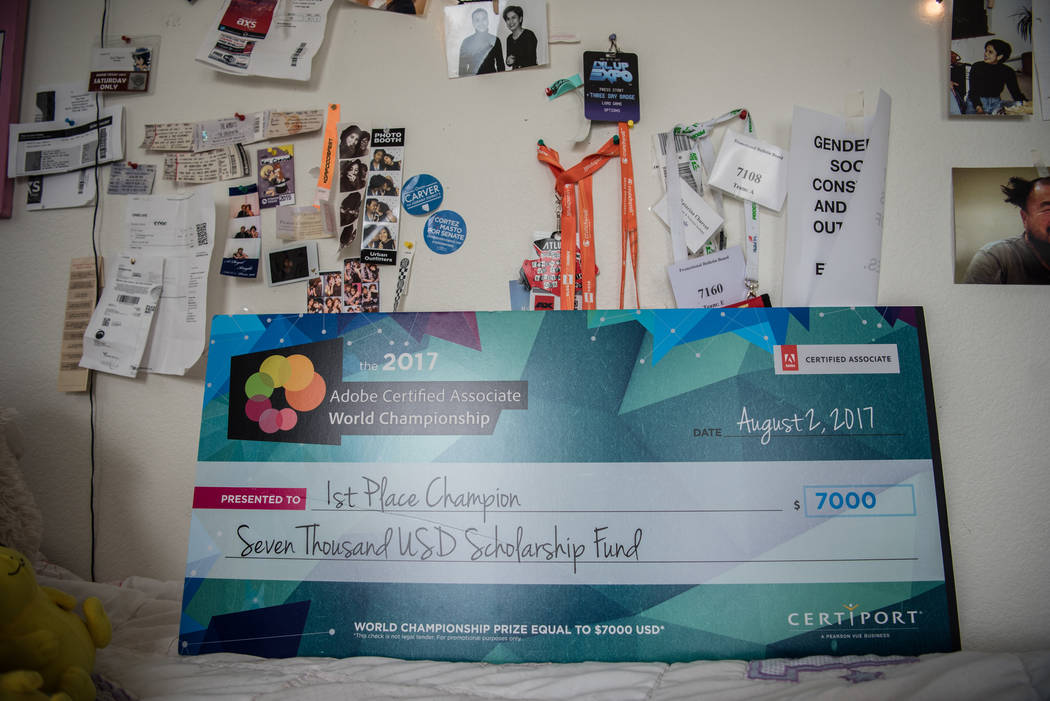 Kai Charvet's scholarship check in her bedroom on Friday, Aug. 4, 2017, in Las Vegas. Morgan Lieberman Las Vegas Review-Journal