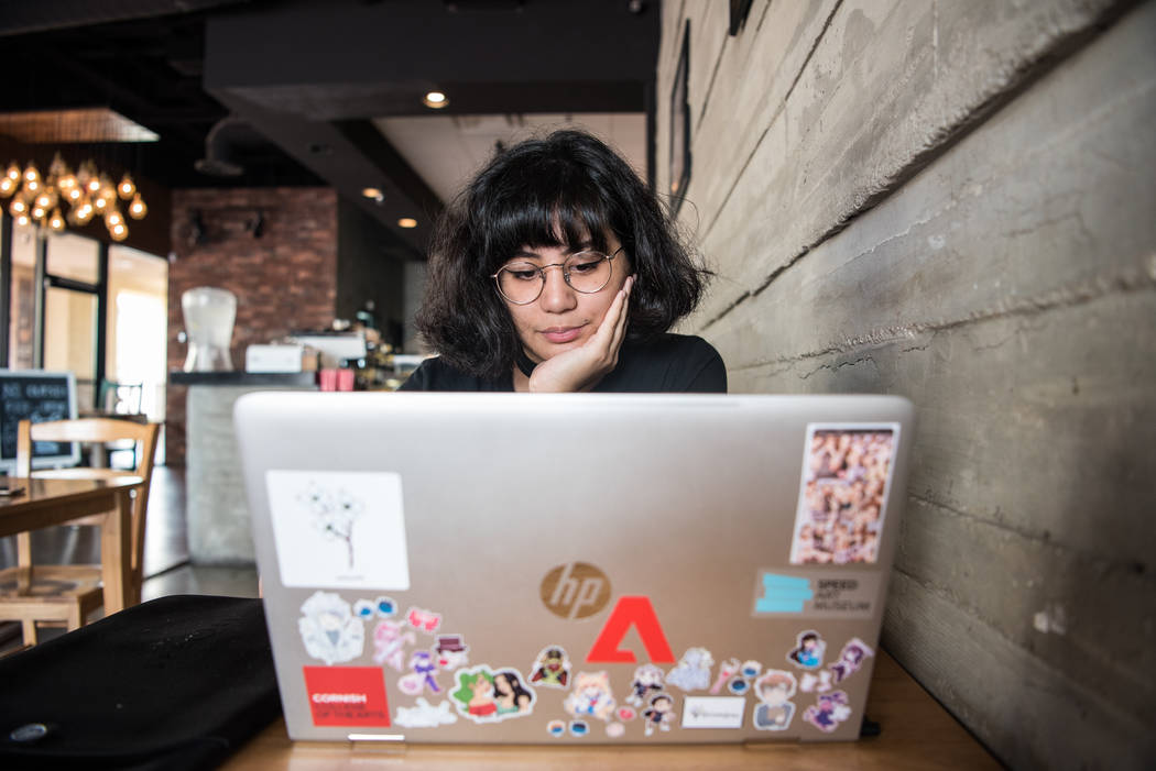 Kai Charvet works on her computer at Serenade Coffee Bar and Desserts on Friday, Aug. 4, 2017, in Las Vegas. Morgan Lieberman Las Vegas Review-Journal