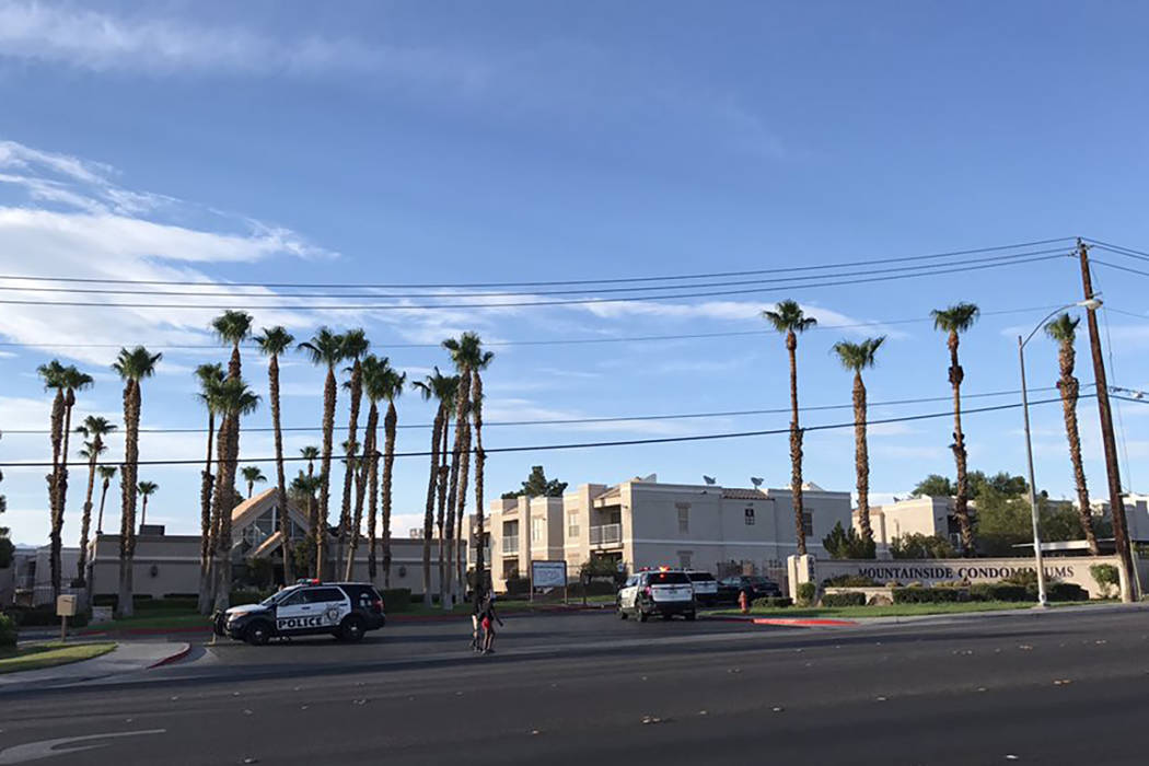 Las Vegas police investigate a shooting at 6800 E. Lake Mead Blvd. on Thursday, August 3, 2017 (Blake Apgar/Las Vegas Review-Journal)