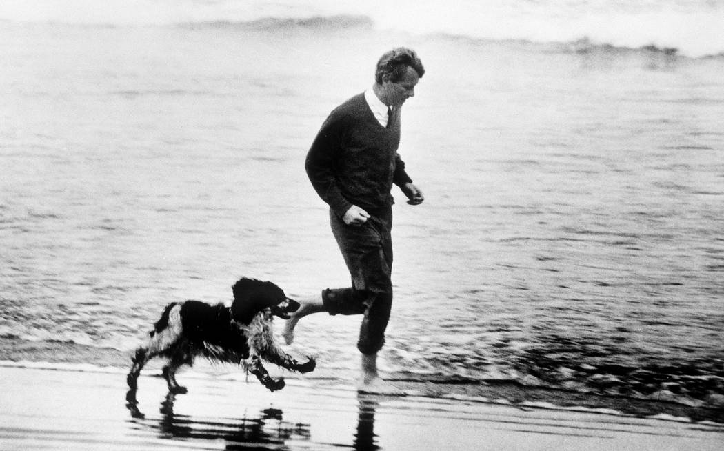 ASTORIA, OR., May 24, 1968-U.S. Sen. Robert F. Kennedy runs through the surf of the Pacific Ocean with his dog Freckles during a stop on his campaign for the Democratic presidential nomination.  H ...