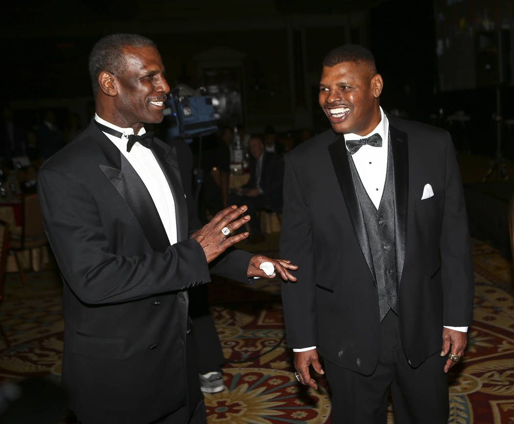 Boxers Michael Spinks, left, with brother Leon before the Nevada Boxing Hall of Fame class of 2017 induction ceremony and gala at Caesars Palace in Las Vegas on Saturday, Aug. 12, 2017. Chase Stev ...