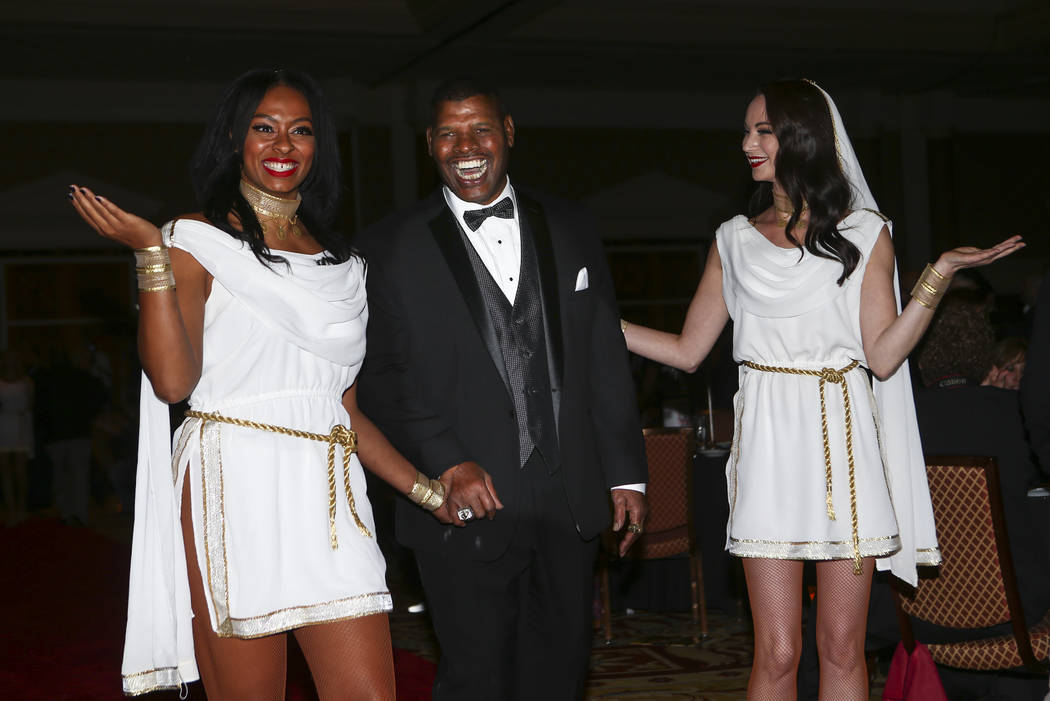 Boxer Leon Spinks is introduced during the Nevada Boxing Hall of Fame class of 2017 induction ceremony and gala at Caesars Palace in Las Vegas on Saturday, Aug. 12, 2017. Chase Stevens Las Vegas R ...