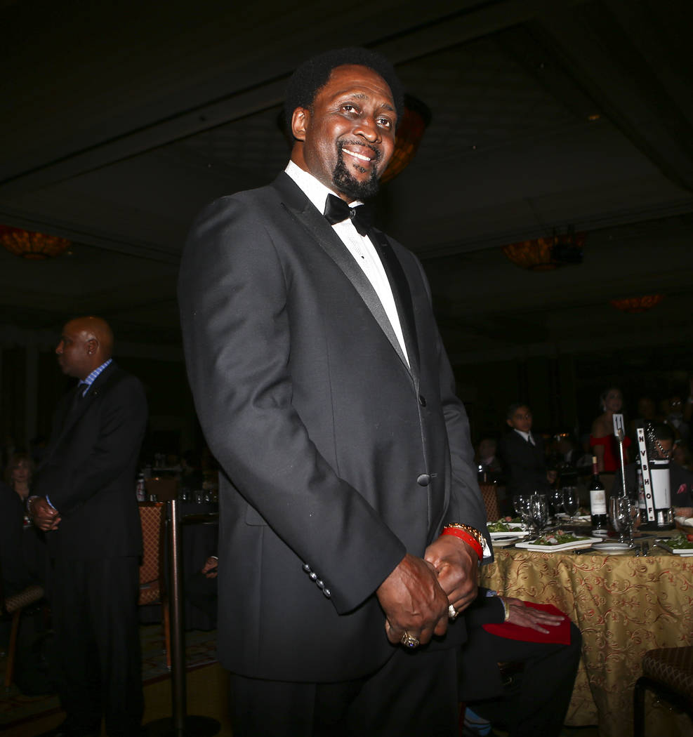 Boxer Thomas Hearns is introduced during the Nevada Boxing Hall of Fame class of 2017 induction ceremony and gala at Caesars Palace in Las Vegas on Saturday, Aug. 12, 2017. Chase Stevens Las Vegas ...