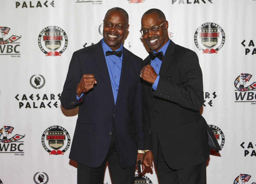 Referees and twin brothers Kermit, left, and Kenny Bayless on the red carpet before the Nevada Boxing Hall of Fame class of 2017 induction ceremony and gala at Caesars Palace in Las Vegas on Satur ...
