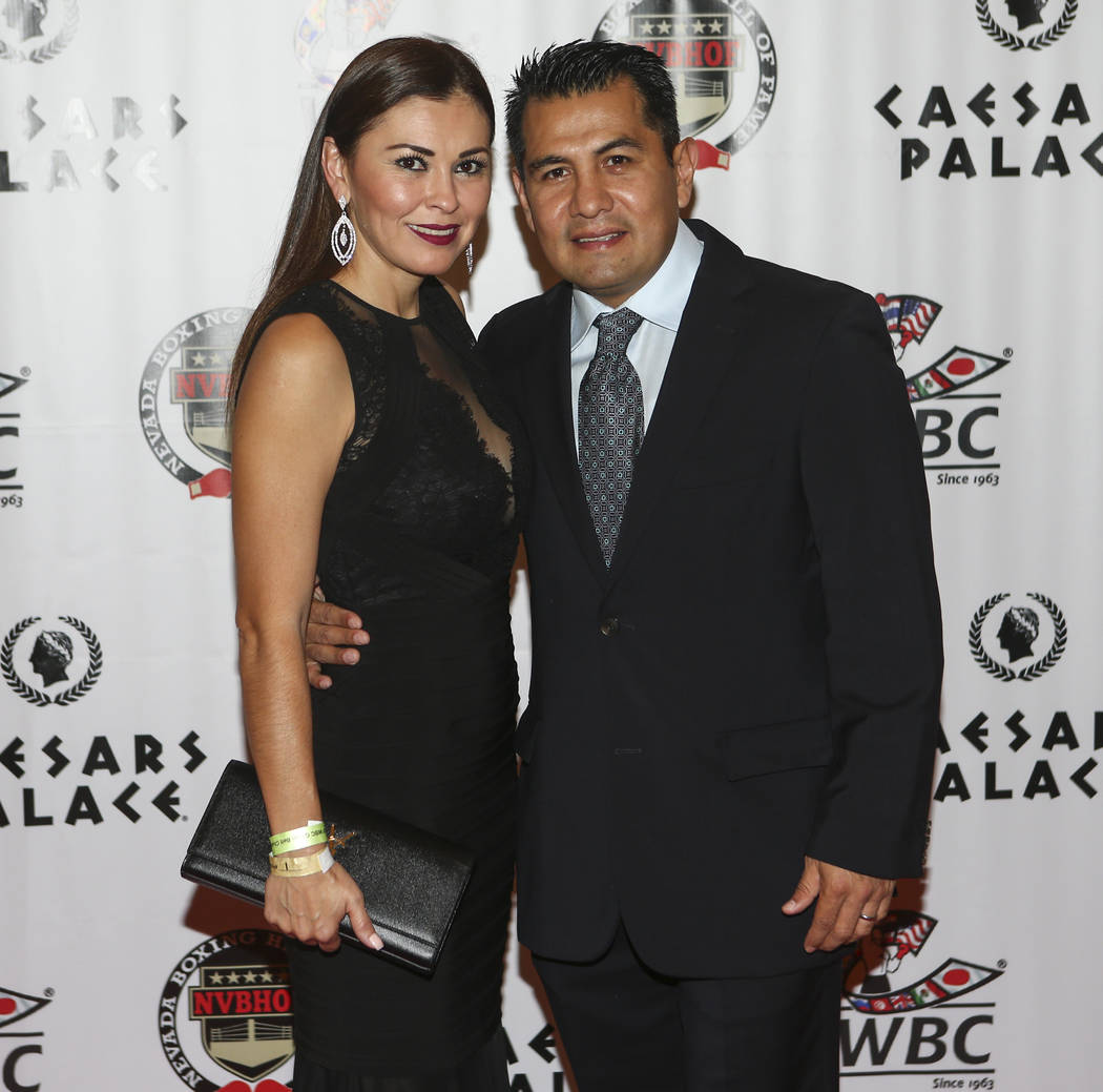 Boxer Marco Antonio Barrera, with his wife Sandra, arrives before being inducted into the Nevada Boxing Hall of Fame at Caesars Palace in Las Vegas on Saturday, Aug. 12, 2017. Chase Stevens Las Ve ...