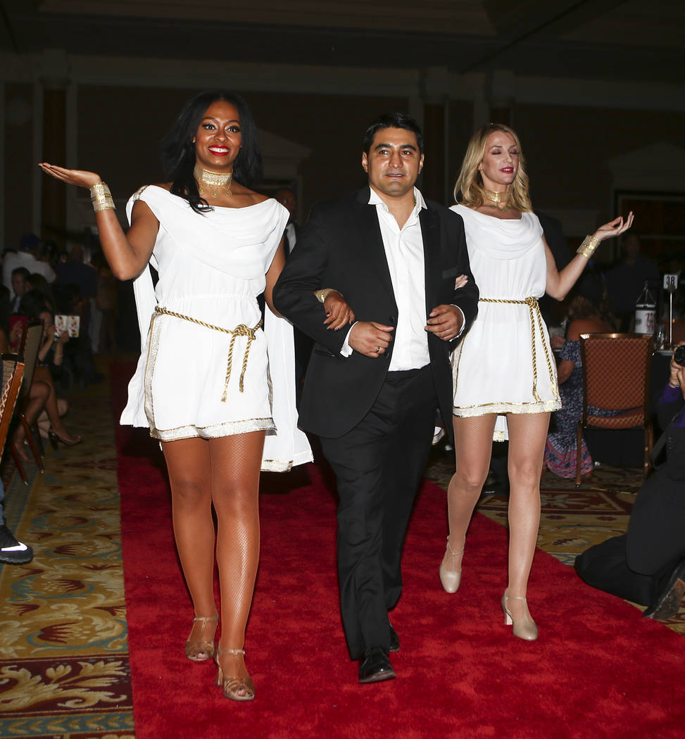 Boxer Erik Morales is introduced during the Nevada Boxing Hall of Fame class of 2017 induction ceremony and gala at Caesars Palace in Las Vegas on Saturday, Aug. 12, 2017. Chase Stevens Las Vegas  ...