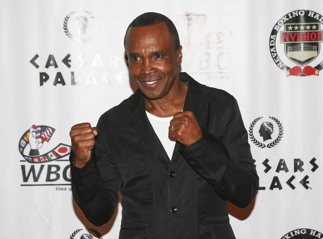 Boxer Sugar Ray Leonard on the red carpet before the Nevada Boxing Hall of Fame class of 2017 induction ceremony and gala at Caesars Palace in Las Vegas on Saturday, Aug. 12, 2017. Chase Stevens L ...