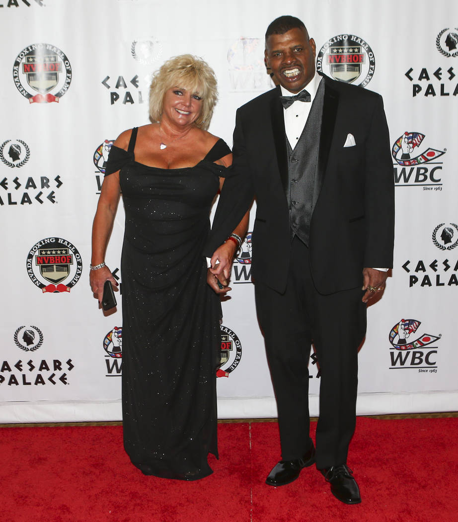 Boxer Leon Spinks, with his wife Brenda, arrives before being inducted into the Nevada Boxing Hall of Fame at Caesars Palace in Las Vegas on Saturday, Aug. 12, 2017. Chase Stevens Las Vegas Review ...