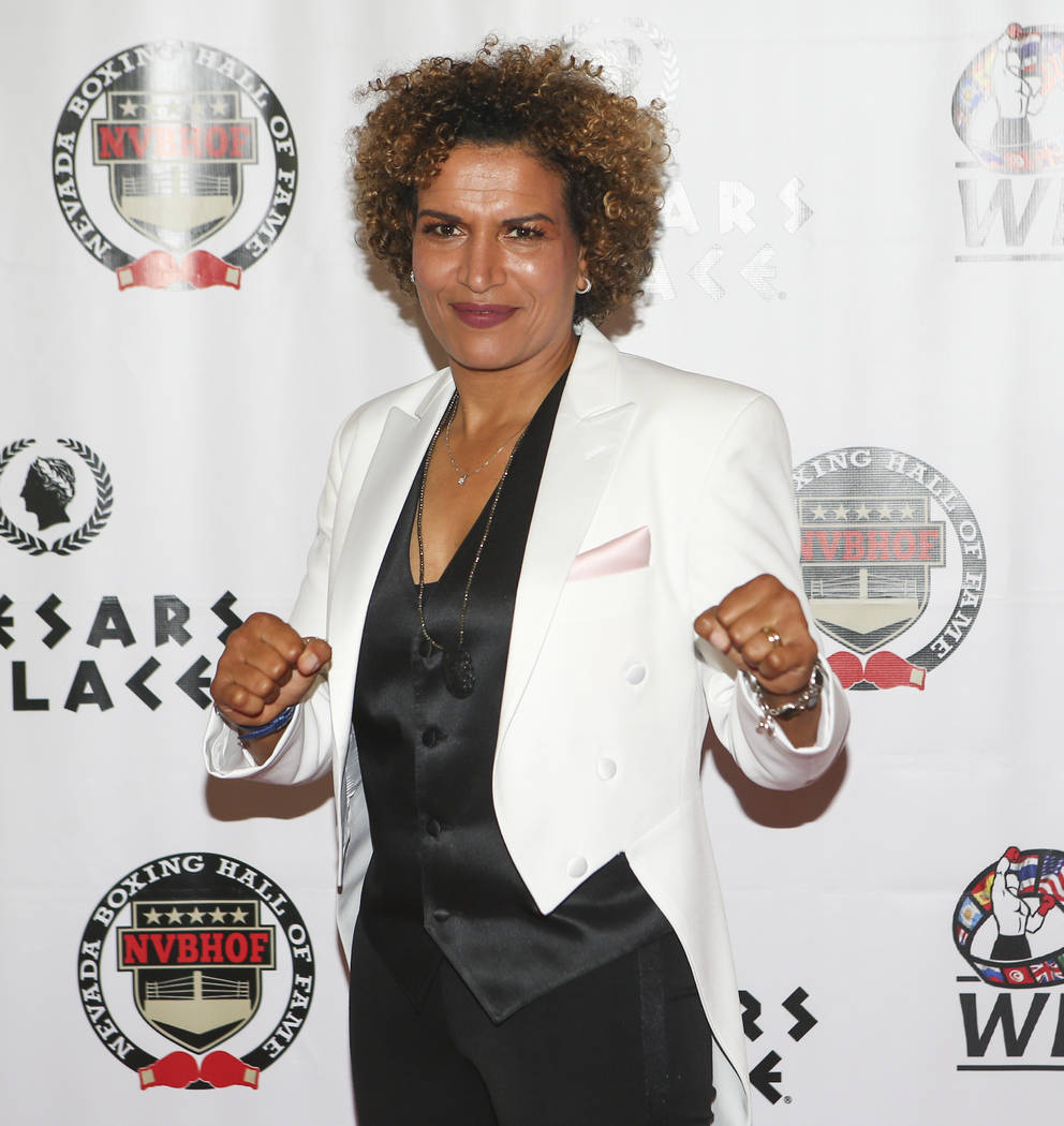 Boxer Lucia Rijker arrives before being inducted into the Nevada Boxing Hall of Fame at Caesars Palace in Las Vegas on Saturday, Aug. 12, 2017. Chase Stevens Las Vegas Review-Journal @csstevensphoto