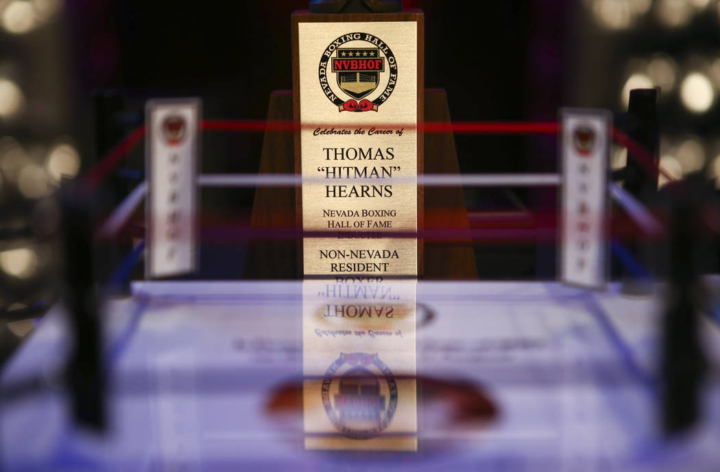 The award for boxer Thomas Hearns before the Nevada Boxing Hall of Fame class of 2017 induction ceremony and gala at Caesars Palace in Las Vegas on Saturday, Aug. 12, 2017. Chase Stevens Las Vegas ...