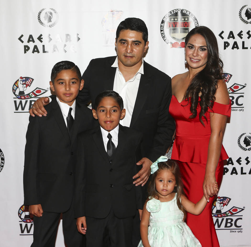 Boxer Erik Morales arrives with his family before being inducted into the Nevada Boxing Hall of Fame at Caesars Palace in Las Vegas on Saturday, Aug. 12, 2017. Chase Stevens Las Vegas Review-Journ ...