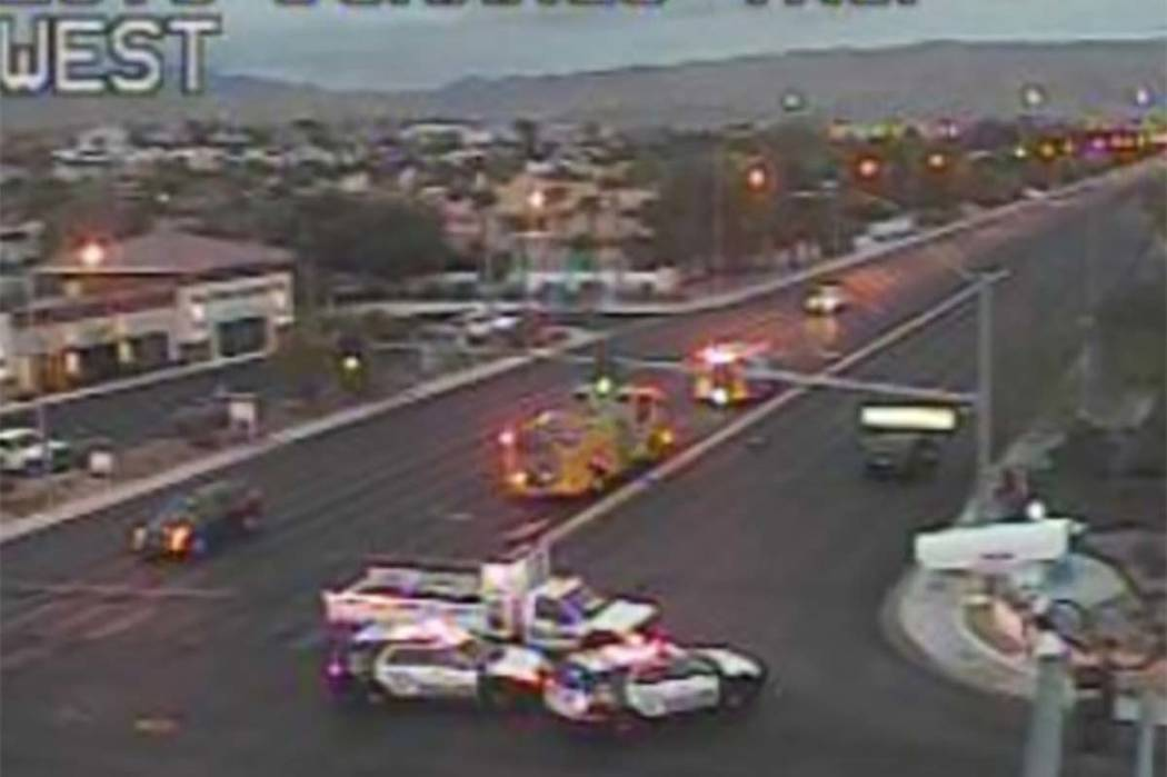 A traffic camera at Tropicana Avenue and Durango Drive shows where two teenagers were injured in a crash Friday morning.