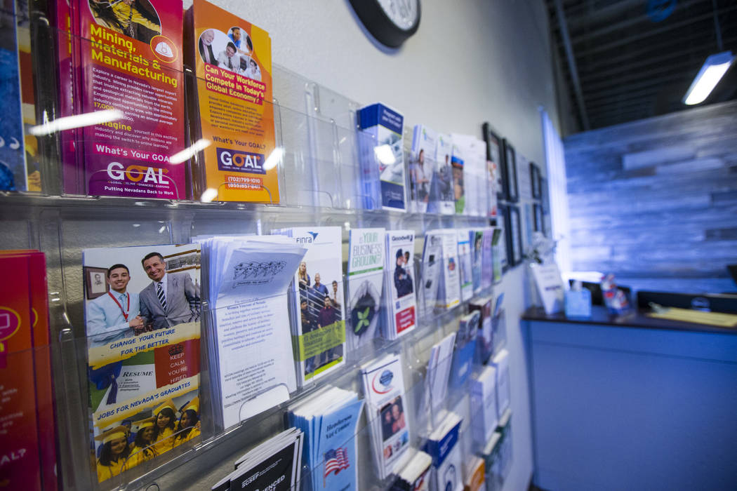 Pamphlets displayed at One-Stop Career Center in Las Vegas on Friday, Aug. 4, 2017. Chase Stevens Las Vegas Review-Journal @csstevensphoto