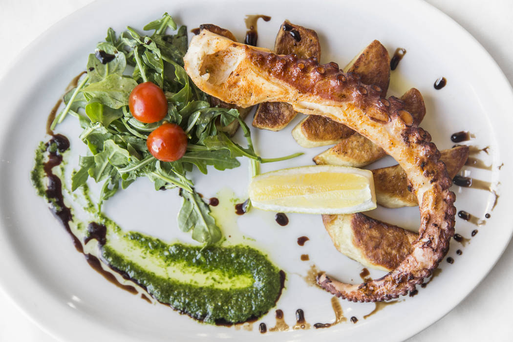 Grilled octopus, arugula salad and salsa verde at Mimi & Coco Bistro on Thursday, Aug 3, 2017, in Henderson. Benjamin Hager Las Vegas Review-Journal @benjaminhphoto