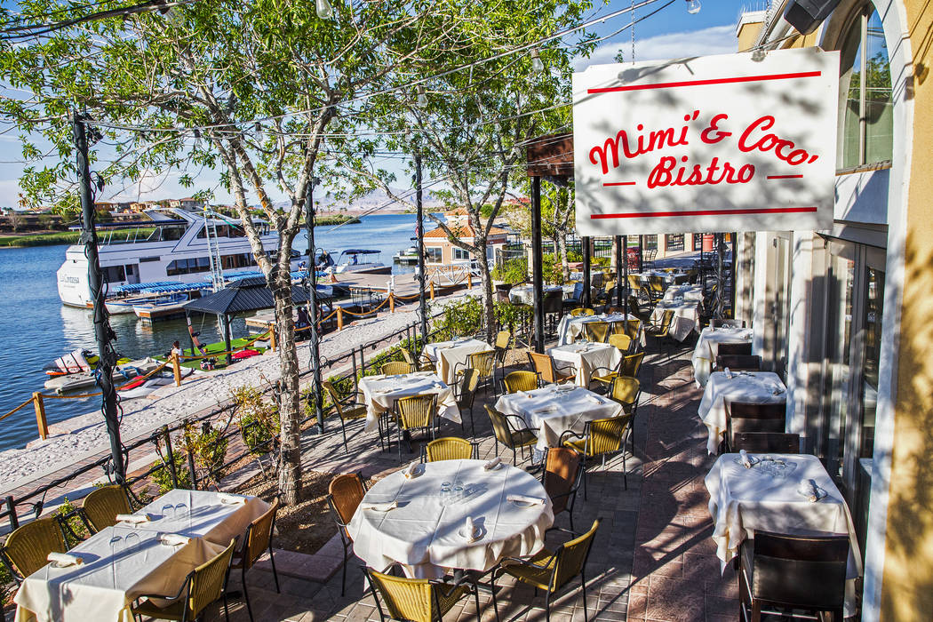 The patio overlooking Lake Las Vegas at Mimi & Coco Bistro on Thursday, Aug 3, 2017, in Henderson. Benjamin Hager Las Vegas Review-Journal @benjaminhphoto